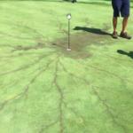 ゴルフ練習場のグリーンのピンに落雷