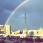 スカイツリーに2重の虹が。