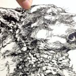 完成。ペン画のオオカミ  ではなく、 切り絵のオオカミ「咆哮」 三週間くらいかかってしまった気がする