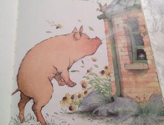 幼稚園にあった絵本、三匹の子豚、ならぬ「三匹の子オオカミ」に出てくる悪い豚の破壊力がすごすぎてお腹が痛いwww