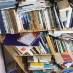 本棚が詰め込まれた本の重みに耐えきれなくなったらしく、たった今自壊した……