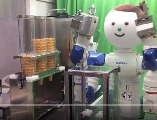 会社にいるアイスクリームロボット。